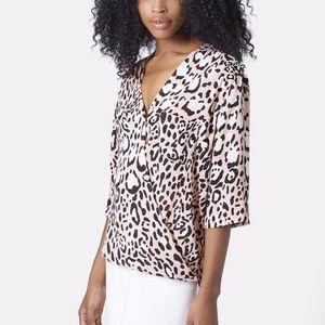 Topshop Light Pink Leopard Print Drape Blouse